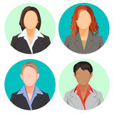 Avatar businesswoman portraits in four circles. Vector user pics Stock Photos