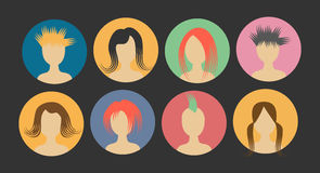 Avatar bust people hair in a circle Royalty Free Stock Image