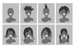 Avatar bust people hair on the square gray Stock Photo