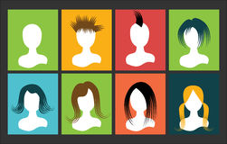 Avatar bust people hair on the square multicolored Stock Images