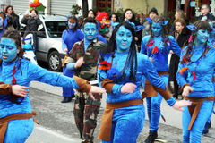 Avatar at carnival. A group of avatar masked people at the carnival of agropoli in italy.19/2/12 stock photography