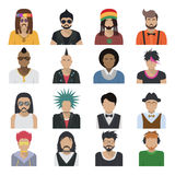 Avatar Characters Icon Set. Men shoulder-length of all ages and style trends isolated colored and isolated vector illustration Stock Photography