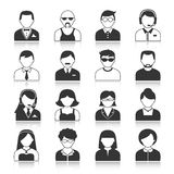 Avatar Characters Icons Set. Avatar icons users head black silhouette portrait isolated vector illustration Stock Photo