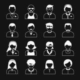 Avatar Characters Icons Set. Avatar icons users head white black reverse color silhouette portrait set isolated vector illustration Royalty Free Stock Photography