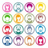 Avatar circle icons male and female faces vector illustration