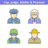Avatar coloré de professions réglé : juge, policier, pompier, vendu illustration stock