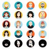 Avatar considerável à moda dos caráteres masculinos e fêmeas Imagens de Stock Royalty Free