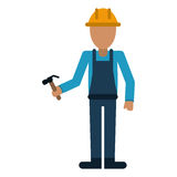 Avatar construction man hammer helmet employee Royalty Free Stock Image