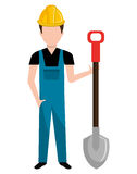Avatar construction man, vector graphic. Avatar construction man wearing colorful clothes and yellow helmet holding contruction tool over isolated background Royalty Free Stock Photo