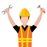Avatar construction man, vector graphic. Avatar construction man wearing colorful clothes and yellow helmet holding contruction tool over isolated background Royalty Free Stock Image
