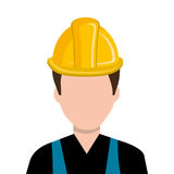 Avatar construction man, vector graphic. Avatar construction man wearing colorful clothes and yellow helmet over isolated background, vector illustration Stock Photo