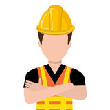 Avatar construction man, vector graphic. Avatar construction man wearing colorful clothes and yellow helmet over isolated background, vector illustration Royalty Free Stock Images