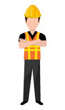 Avatar construction man, vector graphic. Avatar construction man wearing colorful clothes and yellow helmet over isolated background, vector illustration Royalty Free Stock Photo