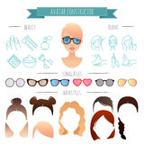 Avatar constructor. 7 hairstyles, 6 sunglasses, 12 beauty icons. For your design Royalty Free Stock Image