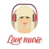 Avatar de écoute de sourire de musique de jeune fille Photographie stock