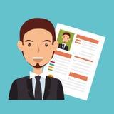 avatar de caractère d'homme d'affaires avec l'icône de cv illustration libre de droits