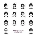 Avatar de femmes avec des coiffures moyennes illustration stock
