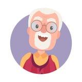 Avatar de grand-père heureux de vieil homme en verres illustration de vecteur