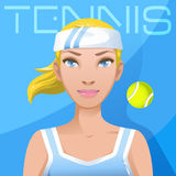 Avatar de joueur de tennis de jeune femme Mode de vie d'active de sport Images stock