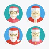 Avatar de Santa Claus Coleção lisa dos ícones Vetor Fotografia de Stock