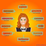 Avatar de uma mulher no formulário profissional da empregada de mesa Imagem para aprender a empregada de mesa da palavra em inglê Fotografia de Stock
