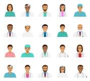 Avatar dei caratteri degli infermieri e di medici messi Icone mediche della gente dei fronti Fotografia Stock Libera da Diritti