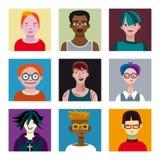 Avatar dei ragazzi degli adolescenti messi Immagine Stock Libera da Diritti
