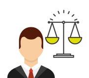 Avatar del abogado con la escala ilustración del vector