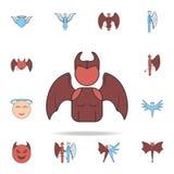 Avatar dell'icona del profilo del color field della ragazza del demone Insieme dettagliato delle icone del demone e di angelo Pro illustrazione di stock