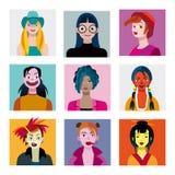 Avatar delle ragazze degli adolescenti messi Fotografie Stock Libere da Diritti