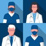 Avatar delle siluette maschii e femminili di medici e degli infermieri illustrazione di stock