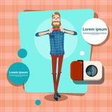 Avatar di comunicazione di Guy Casual Person Social Network del fumetto di modo di stile dei pantaloni a vita bassa dell'uomo Fotografia Stock Libera da Diritti