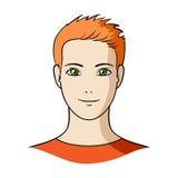 Avatar di un uomo con capelli arancio La singola icona del fronte e dell'avatar nel fumetto disegna il rater, illustrazione a mem Immagine Stock