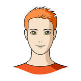 Avatar di un uomo con capelli arancio La singola icona del fronte e dell'avatar nel fumetto disegna l'illustrazione delle azione  Fotografia Stock
