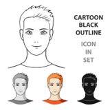 Avatar di un uomo con capelli arancio La singola icona del fronte e dell'avatar nel fumetto disegna l'illustrazione delle azione  Fotografie Stock Libere da Diritti