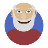 Avatar es un viejo hombre con vidrios y una barba con un icono redondo Ejemplo de abuelo sonriente alegre del vector Fotos de archivo libres de regalías