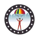 avatar extrême d'athlète de sport de parachute Illustration de Vecteur