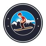 avatar extrême d'athlète de sport de ski Illustration de Vecteur