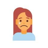 Avatar féminin d'émotion d'icône de profil, pleurer triste de visage de portrait de bande dessinée de femme illustration libre de droits