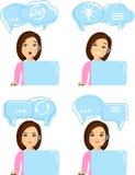 Avatar för appellmitt av online-kundsupporttjänstassistenter med shoppingsymbolen royaltyfria bilder