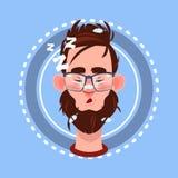 Avatar för sinnesrörelse för profilsymbol manlig, mantecknad filmstående som sover framsidan stock illustrationer