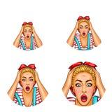 Avatar för vektorpopkonst av den chockade förvånade blonda flickan med den öppnade munnen i tillfälliga kläder Symbol för blogg,  stock illustrationer