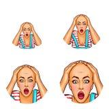 Avatar för vektorpopkonst av den chockade flickan efter kemoterapi eller dålig frisyr Symbol av den skalliga kvinnan med cancer f vektor illustrationer