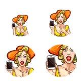 Avatar för vektorpopkonst, symbol av det chockade förvånade stiftet upp flicka i den hållande smartphonen för hatt som meddelar r royaltyfri illustrationer