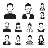 Avatar and face black icons in set collection for design. A person appearance vector symbol stock web illustration. Avatar and face black icons in set Stock Photo