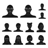Avatar and face black icons in set collection for design. A person appearance vector symbol stock web illustration. Avatar and face black icons in set Royalty Free Stock Photography