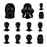 Avatar and face black icons in set collection for design. A person appearance vector symbol stock web illustration. Avatar and face black icons in set Royalty Free Stock Images
