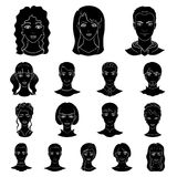 Avatar and face black icons in set collection for design. A person`s appearance vector symbol stock web illustration. Stock Photos