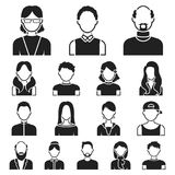 Avatar and face black icons in set collection for design. A person`s appearance vector symbol stock web illustration. Stock Photography