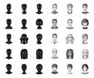 Avatar and face black.mono icons in set collection for design. A person`s appearance vector symbol stock web. Avatar and face black.mono icons in set collection vector illustration